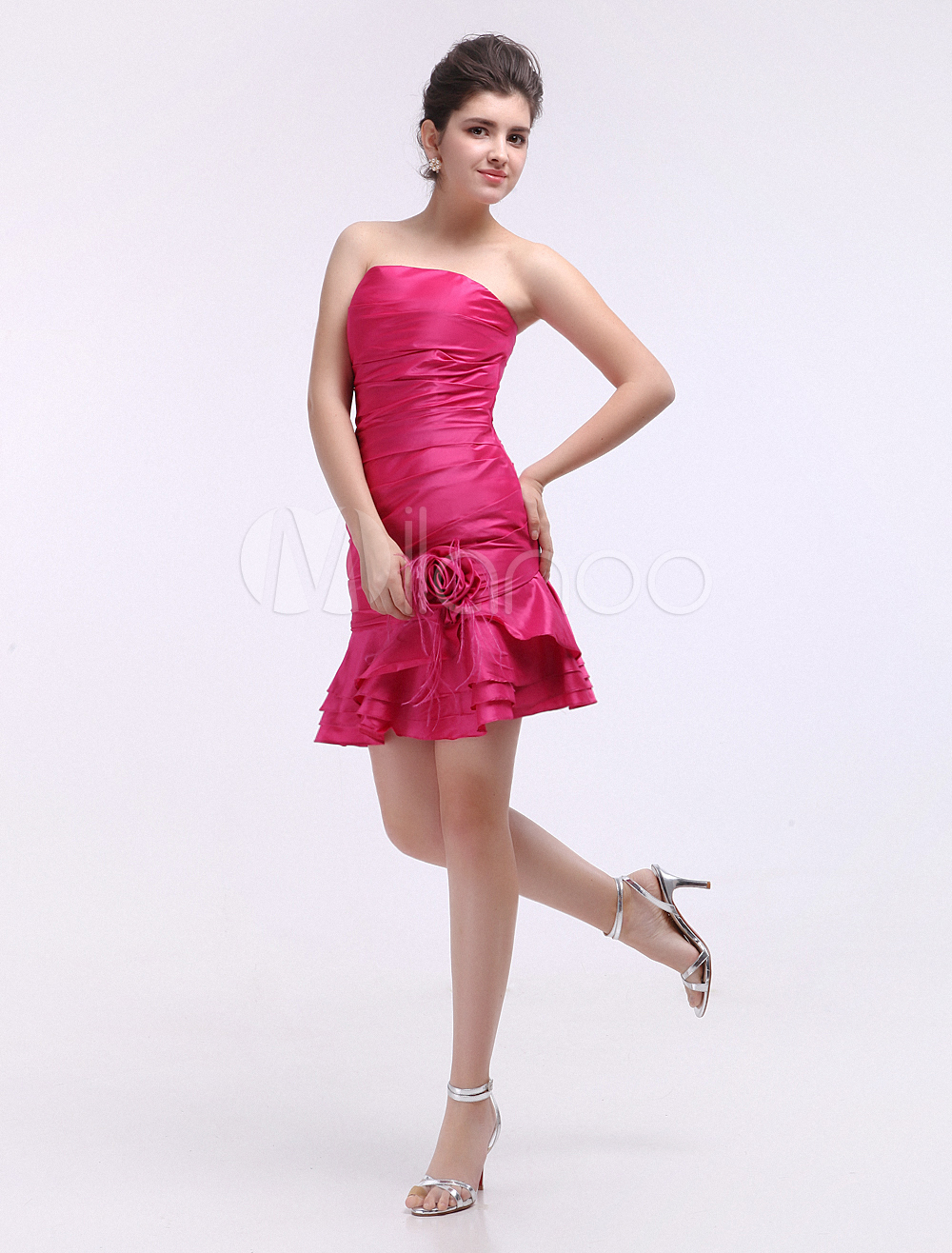 China Wholesale Clothes - Cocktail Dress Fuchsia Mermaid One-Shoulder Ruffles Taffeta Cocktail Dress