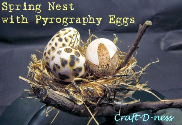 Pyrography Eggs in Spring Raffia Nest