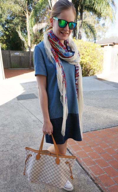 Aussie blogger chambray shirt dress converse louis vuitton neverfull printed scarf