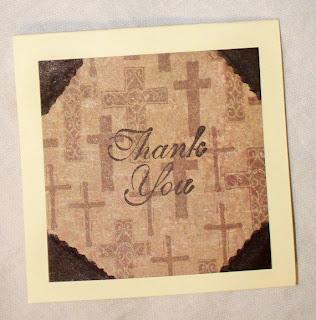 mini cards Christian cross brown cream by KraftersKorner