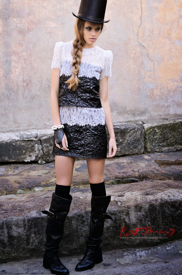 Location fashion shoot against an old wall in The Rocks Sydney for Lulu in Chains by Sydney Photographer Kent Johnson.