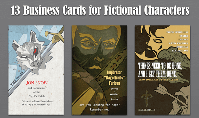 13 Business Cards for Fictional Characters