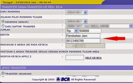 Cara Mengisi Berita Transfer Internet Banking KlikBCA