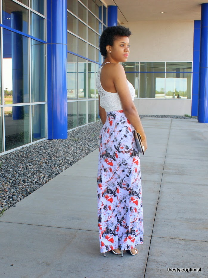 how to wear a maxi skirt, twa, natural hair, big chop 2014, pave link bracelet