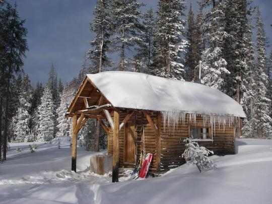 Snowy Log Cabin ~ Ski house of the day may