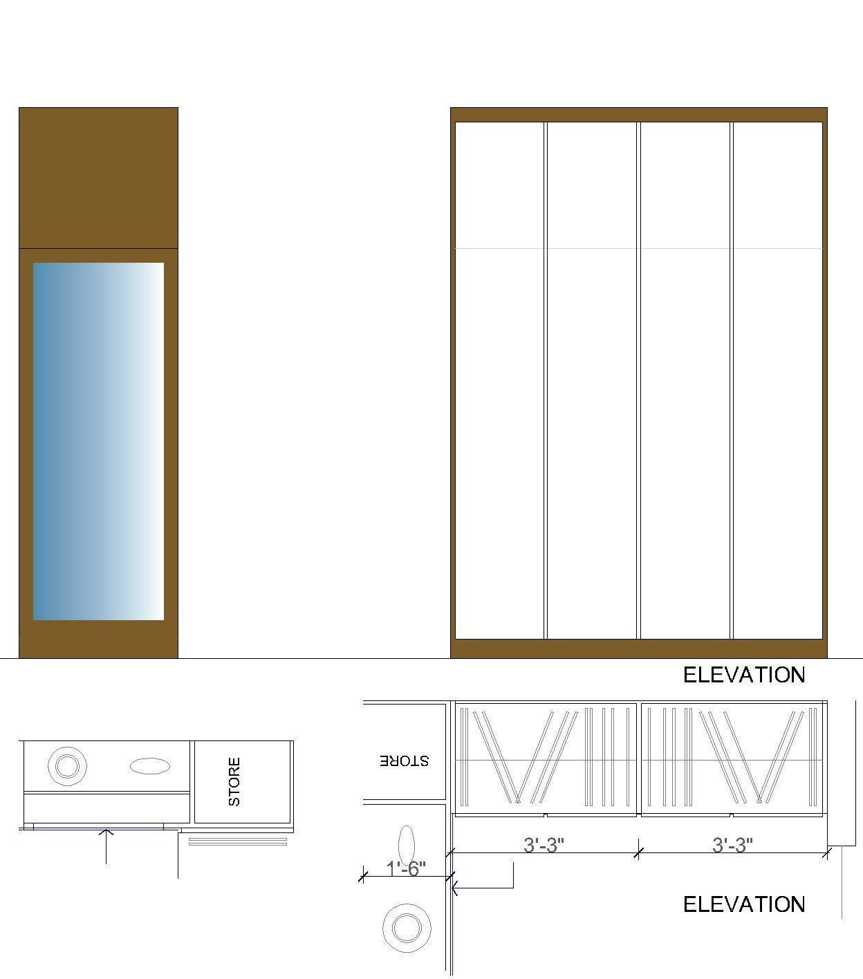 Front Elevation Beds : Study table front elevation
