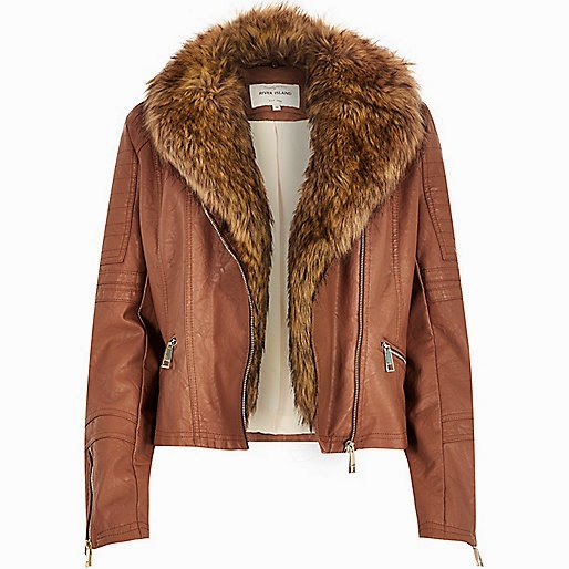 brown leather jacket fur collar