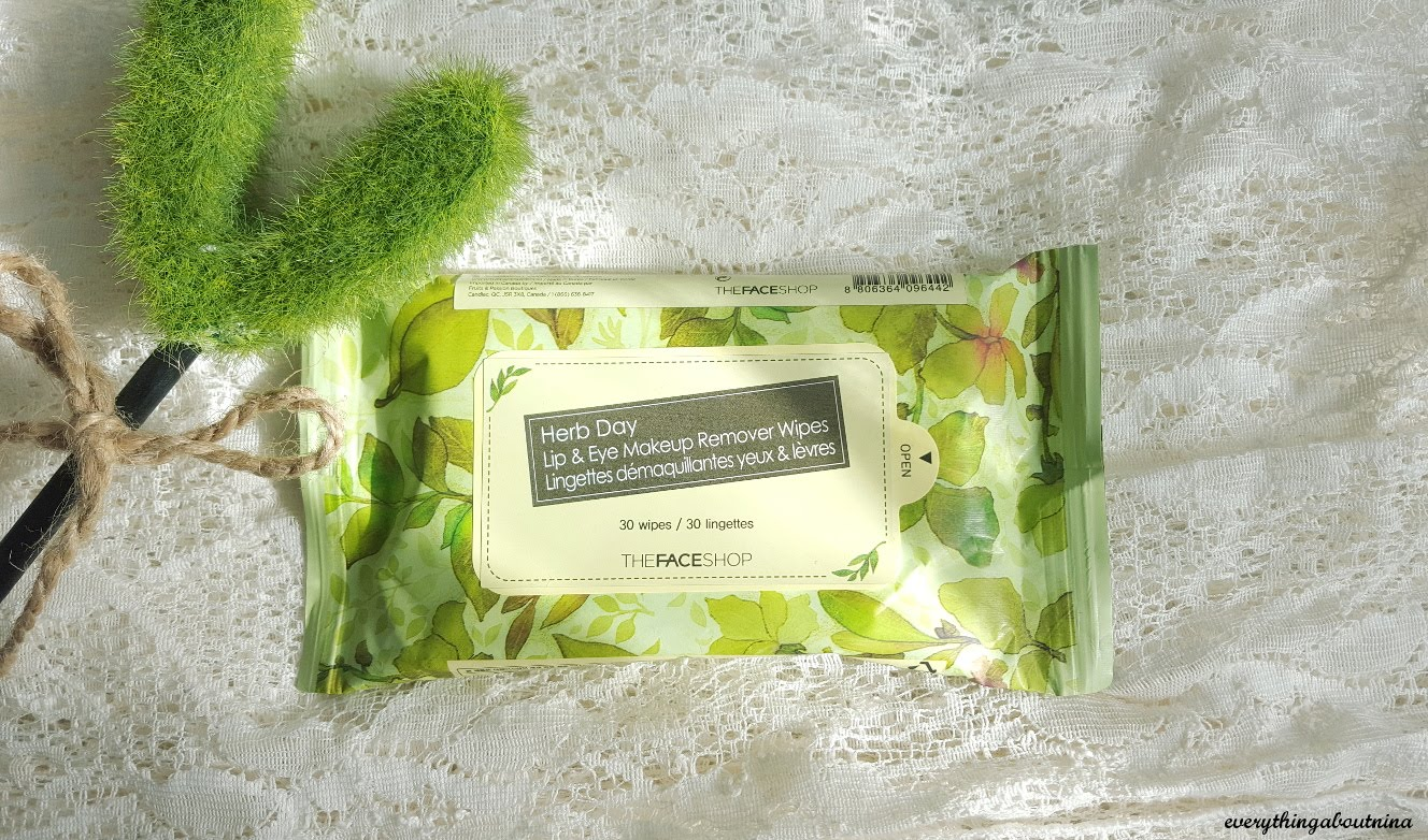 Review The Face Shop Herb Day Lip Eye Makeup Remover Wipes
