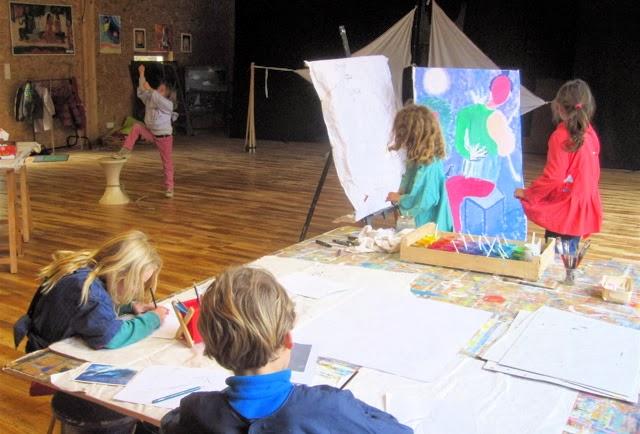Croquis, peinture, dessin en relation avec l'atelier Théâtre