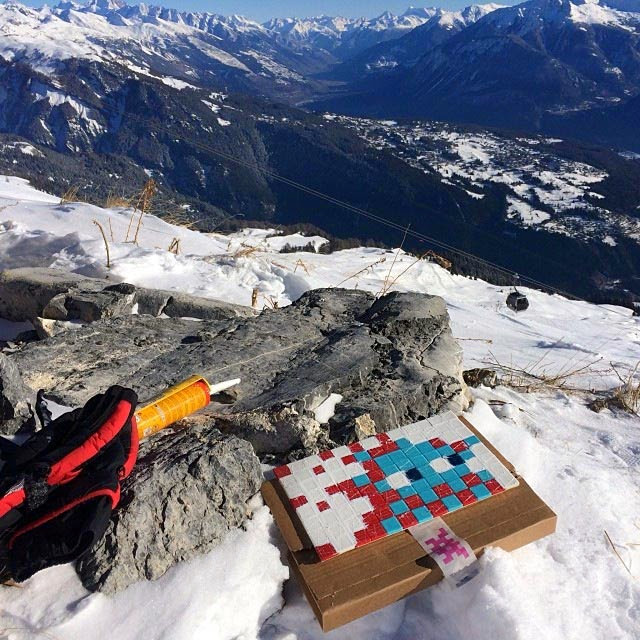 French Street Artist Invader New Wave of Invasion, 2362 meters up high on a mountain in France.