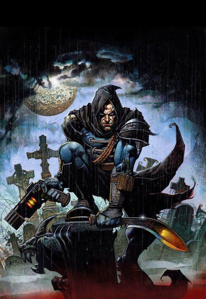 Dessin de Simon Bisley représentant guerrier moderne perché sur une gargouille sous la pluie