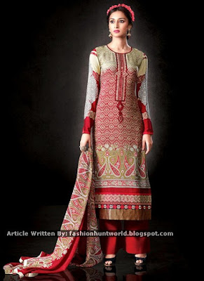 Beige n Red Shaded Printed Straight Suit / Black Georgette Straight Pant