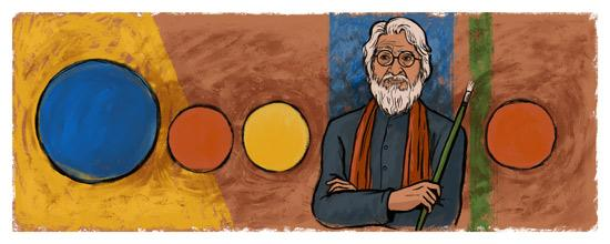 Google remembered the birth centenary of painter M F Hussain, by doing a doodle with his favourite colours and portrait.