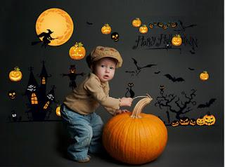 cute kids and pumpkin halloween