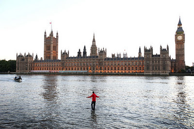 Magician Dynamo 'walks on water' across the River Thames to mark the launch of his new TV show