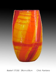'Basket' - red/orange blown glass