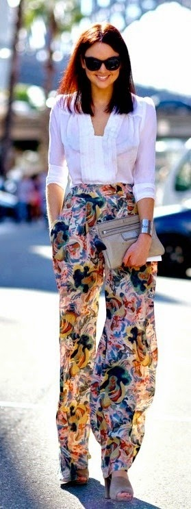 See more A fun-patterned, wide pant goes a long way when paired with a more structured, fitted top.