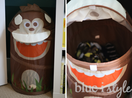 Blue i style creating an organized pretty happy home march 2013 - Monkey laundry hamper ...