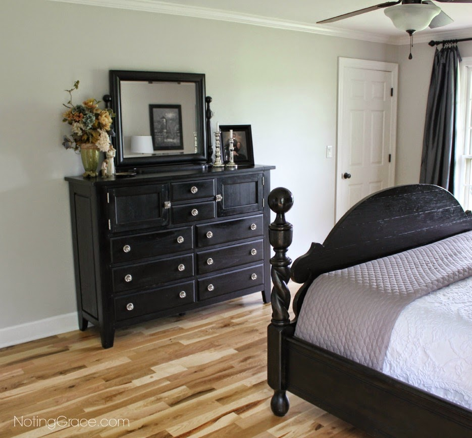 Noting Grace: Master Bedroom Makeover A beautiful transformation from dated 80s to today with a mixture of masculine and feminine decor.