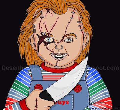 Desenho do Chucky, o Boneco Assassino, feito no Paint