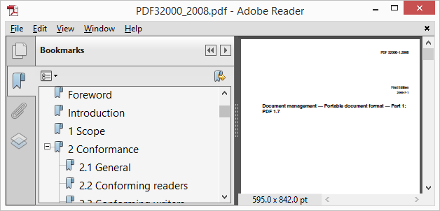 Pic. 1 PDF bookmarks panel