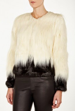 white and black furry coat