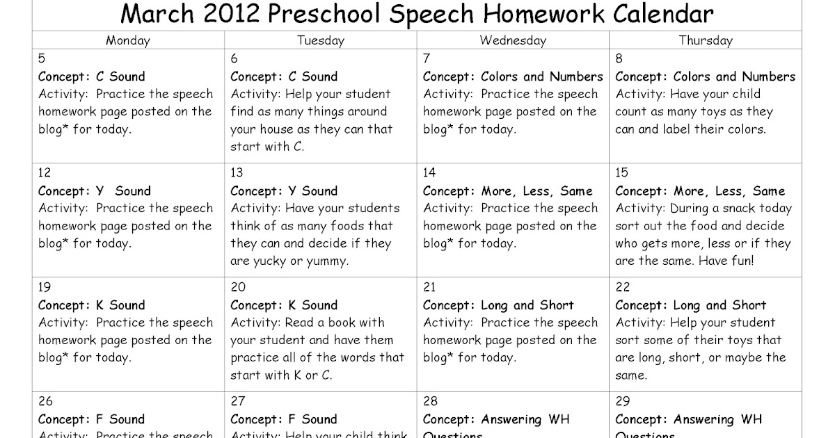 East Meadows Speech: March Preschool Speech Homework: Calendar And
