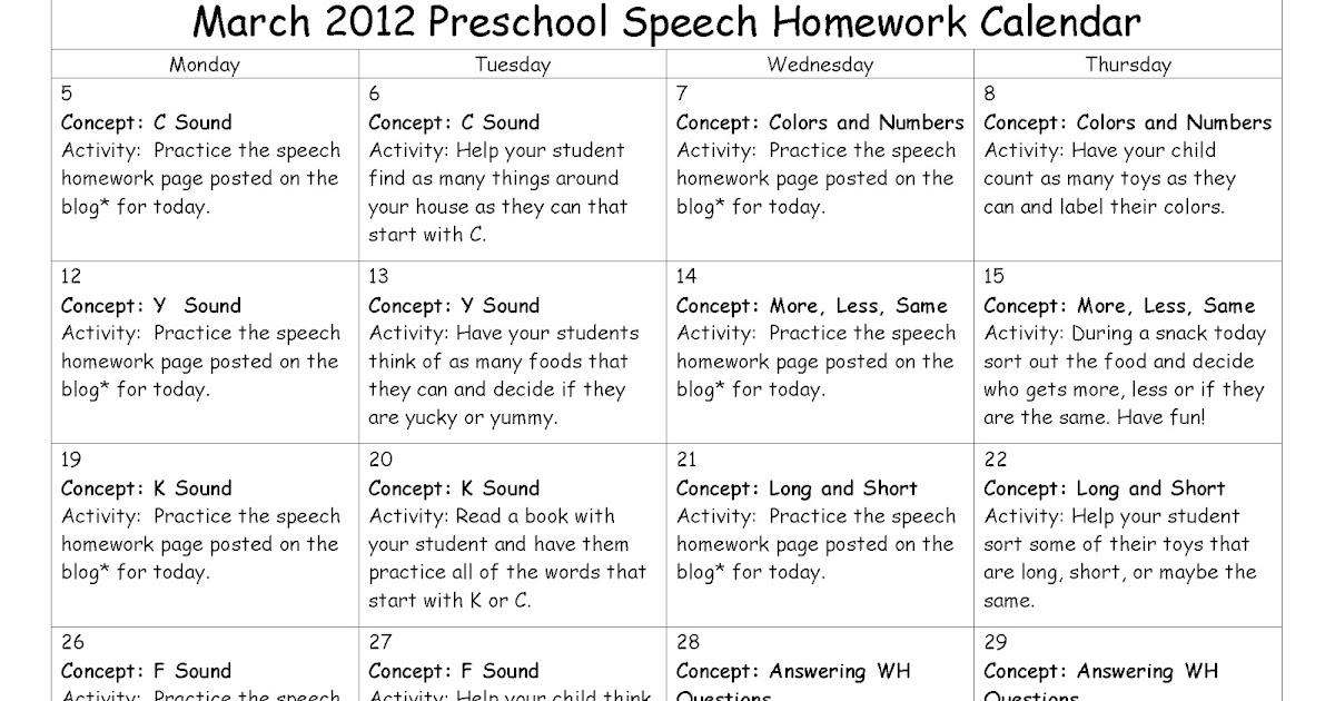 east meadows speech  march preschool speech homework