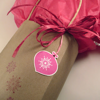 Pink Christmas Ornament Gift Tag