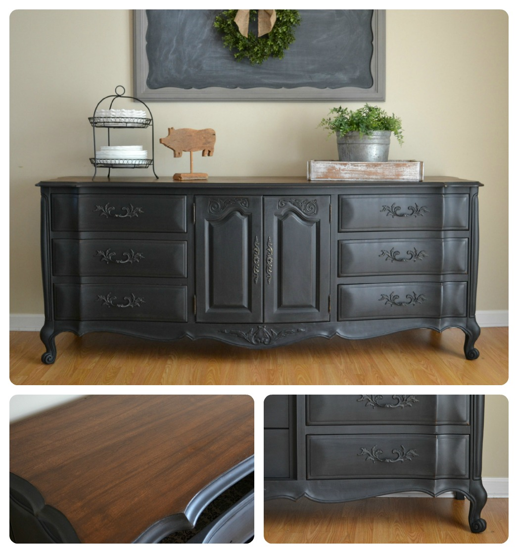 funky junk black buffet dresser. Black Bedroom Furniture Sets. Home Design Ideas