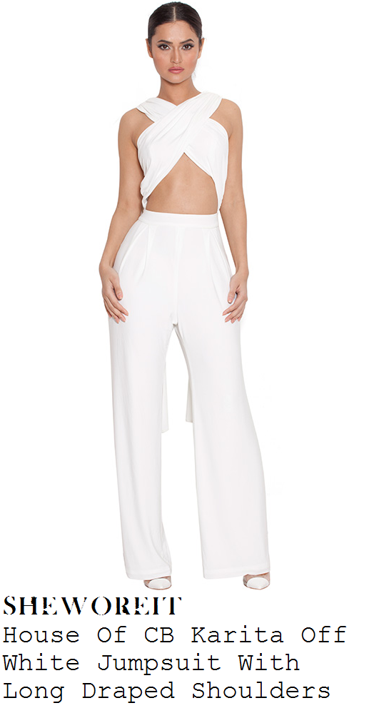 louisa-johnson-white-cross-over-front-high-wide-leg-jumpsuit-x-factor