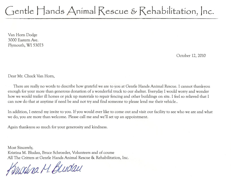 Van Horn Auto Group Blog Thank You Letter From Gentle