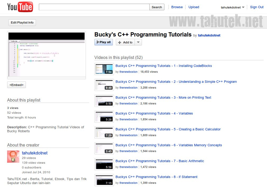 YouTube playlist: C++ Programming Tutorials