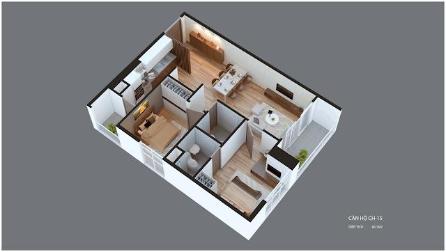 Mặt bằng căn hộ Imperia Garden CH15 66.1 m2
