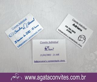 Convite Individual, Mini Cartão, Lista de Presentes.