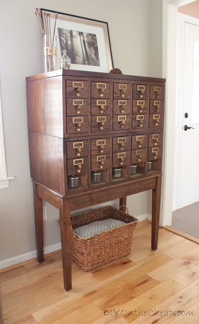 Card catalog + thrift store basket