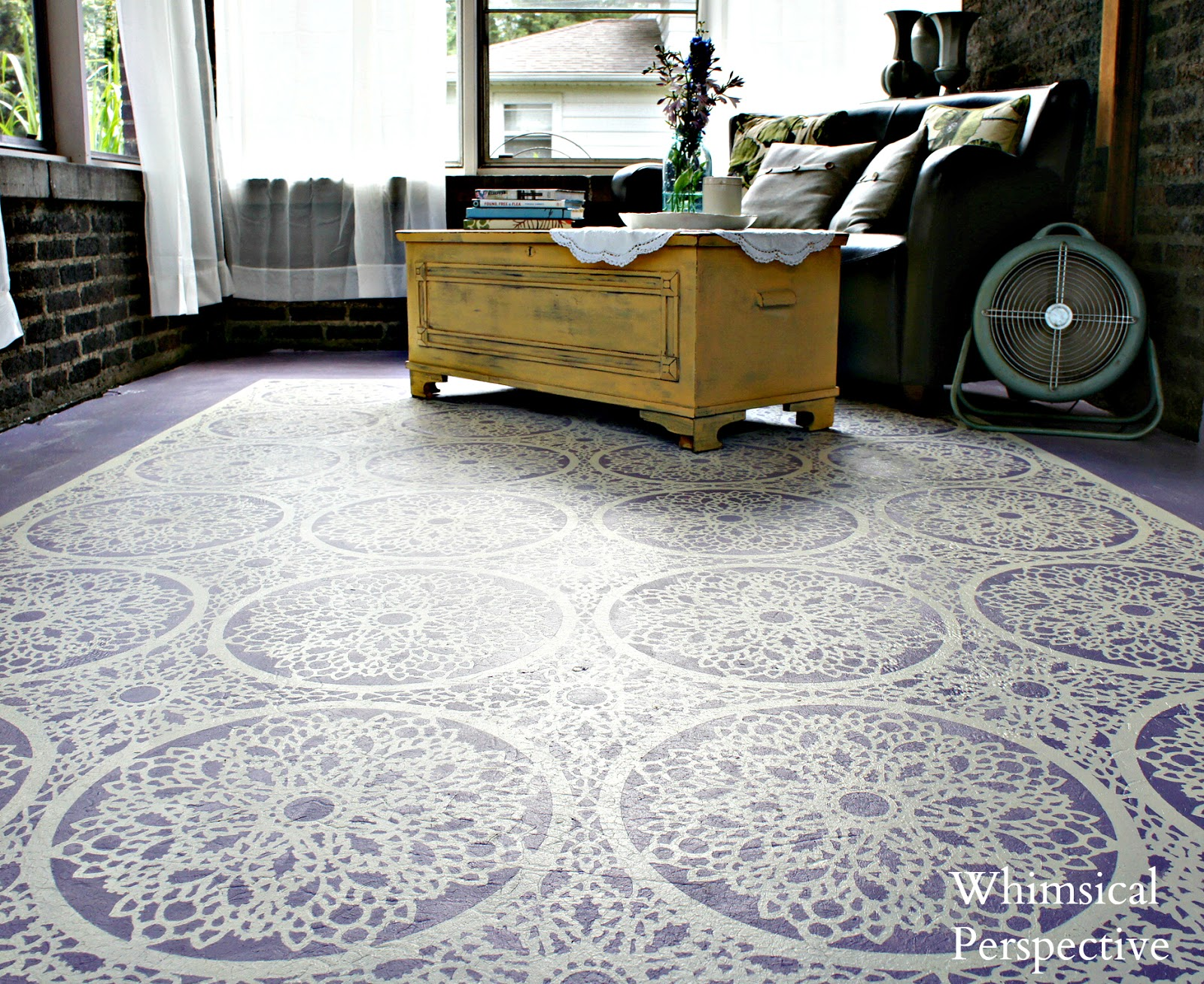 Whimsical perspective stenciled floor porch reveal for Floor stencils