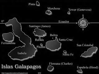 Mapa de las Islas Galápagos de ECUADOR