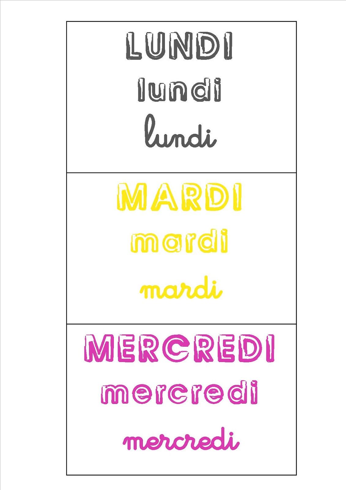 Top La maternelle de Laurène: Les jours de la semaine QG57