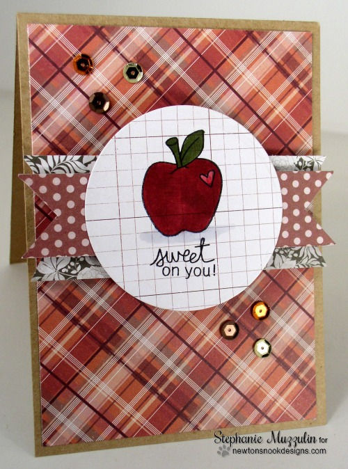 Apple Card by Stephanie Muzzulin for Newton's Nook Designs | Apple Delights Stamp Set