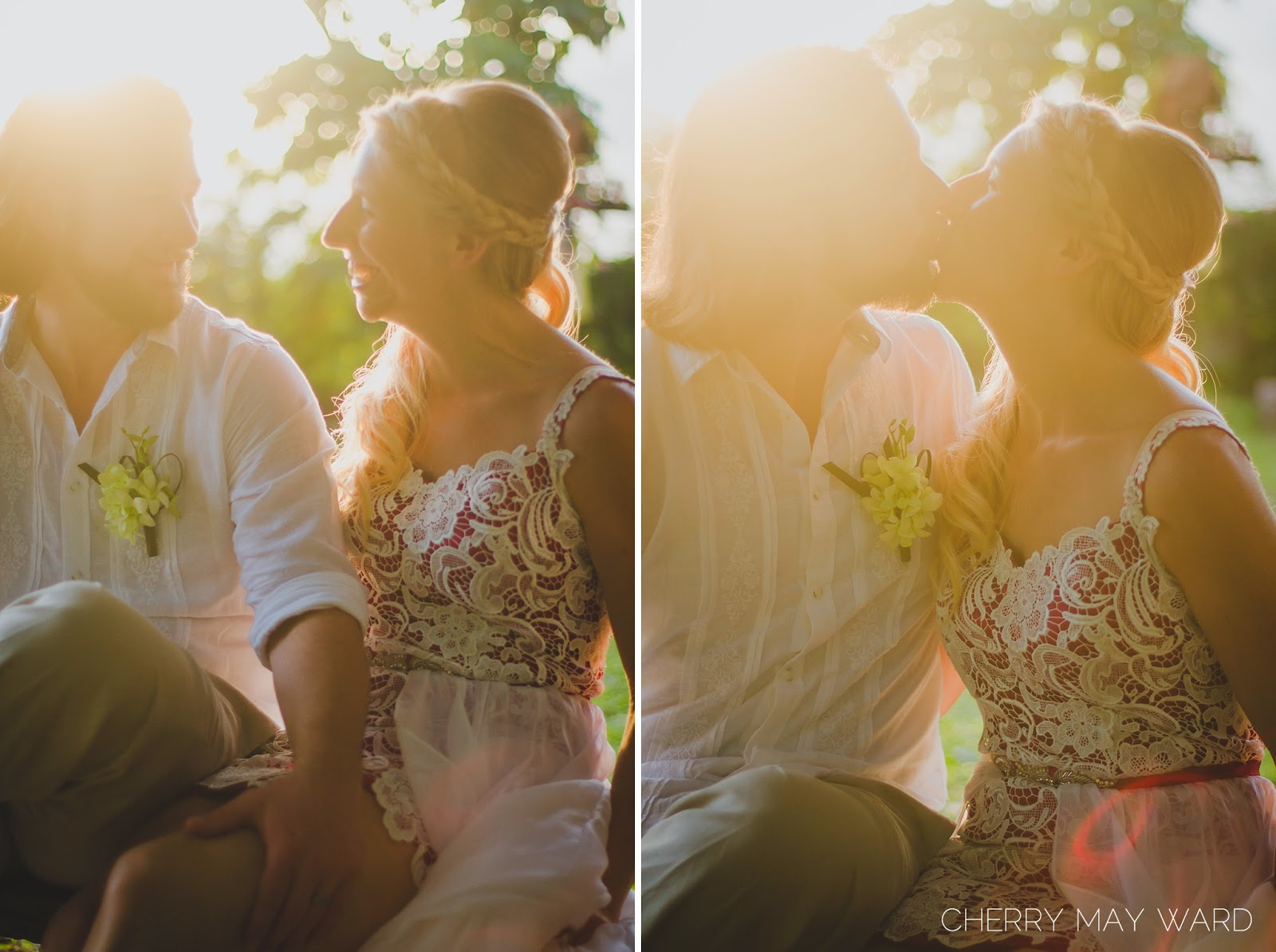 bride and groom sitting on a swing, kissing on a swing at sunset, beautiful sunset, bride kissing as the sun sets, beautiful photos of bride and groom kissing