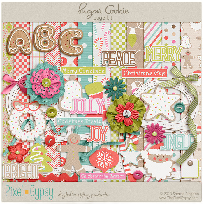 Sugar Cookie Christmas Digital Scrapbooking Page Kit