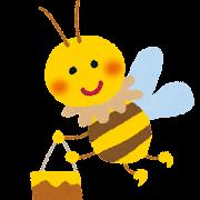 ハチミツを運ぶミツバチのイラスト