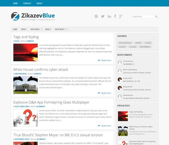 Zikazev Blue - Responsive Blogger Template