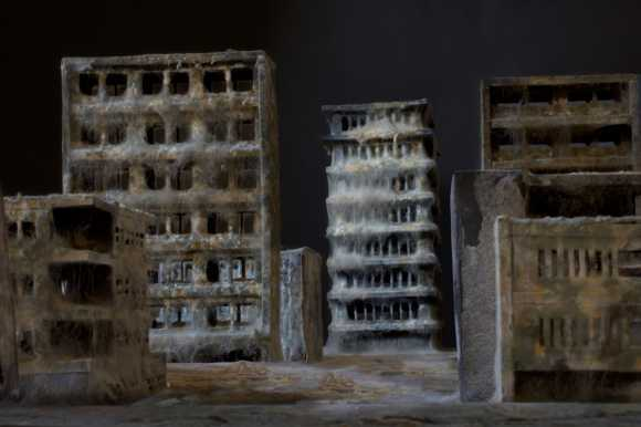 daniele del nero arte esculturas cidades miniaturas decaídas envelhecidas abandonadas mofadas