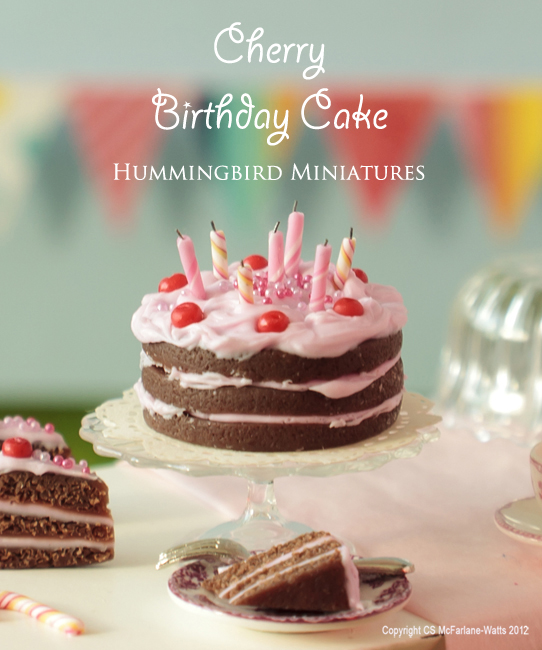 Hummingbird Miniatures Cherry Chocolate Birthday Cake