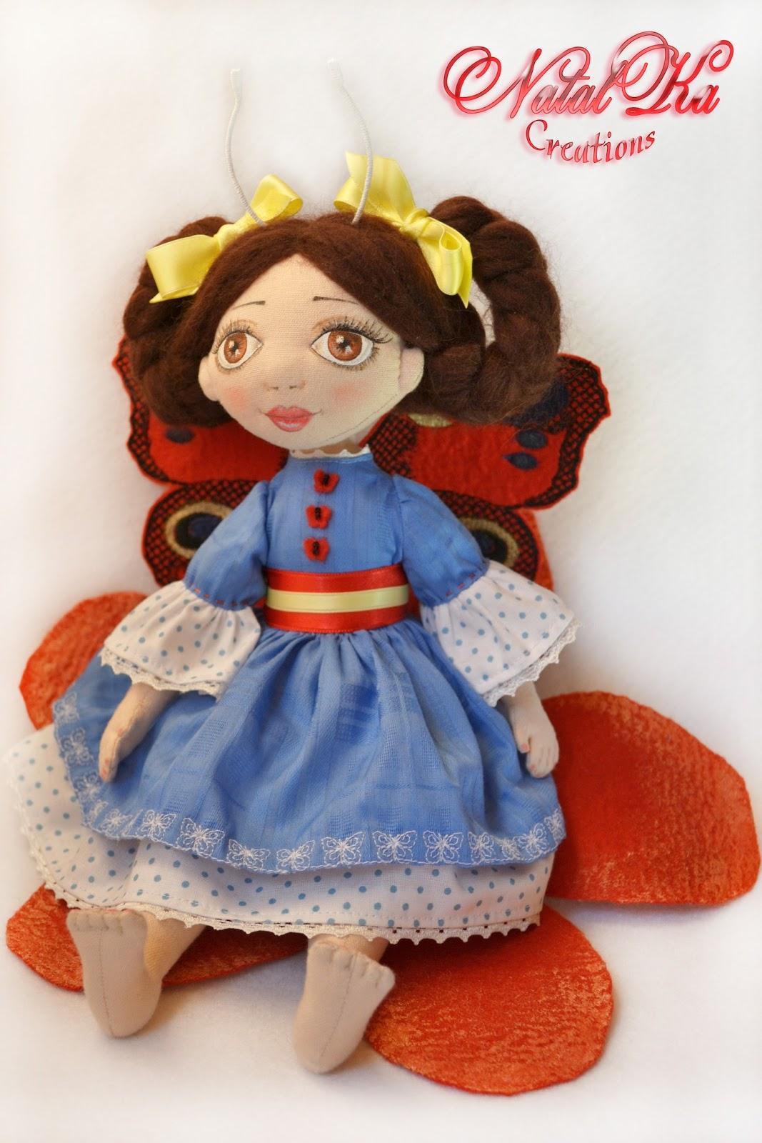 Handgemachte Stoffpuppe Katrin. Cloth art doll Katrin
