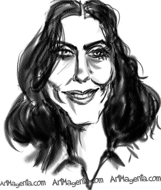 Courteney Cox caricature cartoon. Portrait drawing by caricaturist Artmagenta