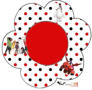 Tarjeta con forma de flor de Big Hero 6.