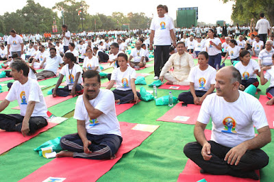 Delhi Chief Minster Arvind Kejriwal and Deputy Chief Minister Manish Sisodia at Rajpath in New Delhi on Yoga Day